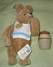 "R John Wright Winnie the Pooh 14"" Mohair Bear with Honey Pot 652/5000 w/ Box"