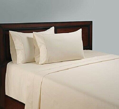 4 PCs Bed Sheet Set All US Size 1000 Thread Pima Cotton Ivory Solid