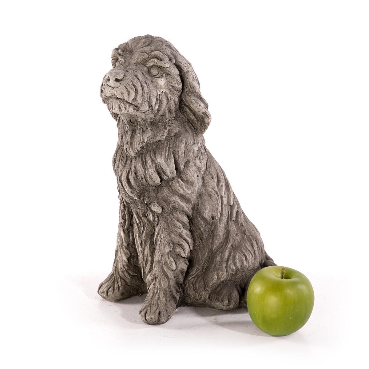 Steinfigur GKunstenfigur Tierfigur 31cm Hund Statue Skulptur Steinguss Deko GKunsten