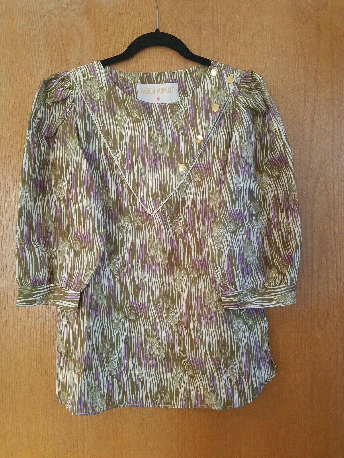 NWOT Anthropologie Lauren Moffatt Silk Blouse woodgrain print large