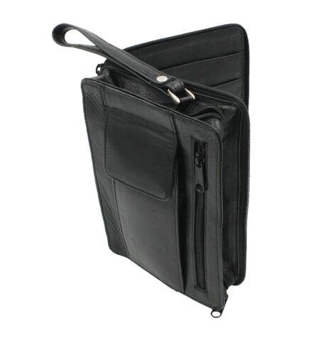 Men Leather Credit Card//Passport Holder Clutch Zippered Wallet Wrist let