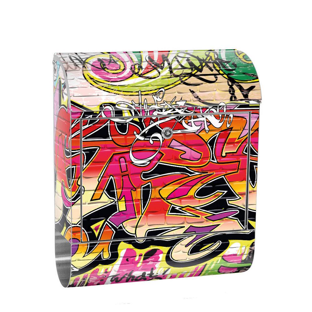 Edelstahl Wandbriefkasten XXL mit Motiv & Zeitungsrolle | Kinderzimmer Graffiti