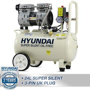 24L Ltr Litre Air Compressor Silent Portable Oil Free 1HP 100PSI 7BAR 230v
