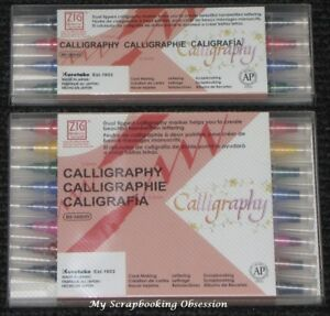 Kuretake Zig CALLIGRAPHY Pens (Choose from 2 Pack sizes) Dual Tipped Brush