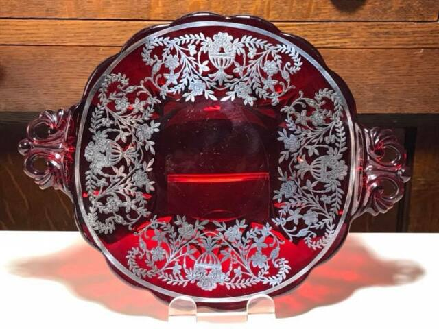 New Martinsville Janice Red handled bon bon dish with silver overlay