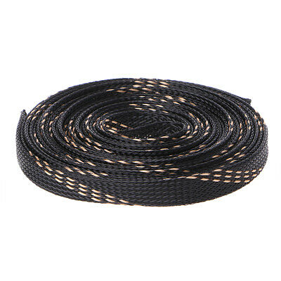 5M 4-25mm Expandable PET Black Braided Cable Wire Sleeving 3 Weave High Density