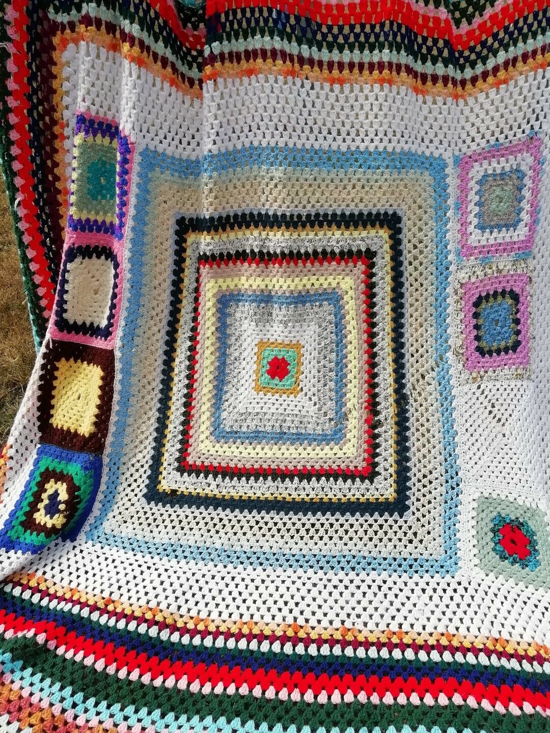 HUGE VINTAGE Multicolore rétro grand format CROCHET GRANNY Couverture Multicolore VINTAGE Hiver Throw a5e394