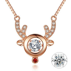 Reindeer-Pendant-18K-Rose-Gold-Plated-925-Sterling-Silver-Necklace-Xmas-Gifts
