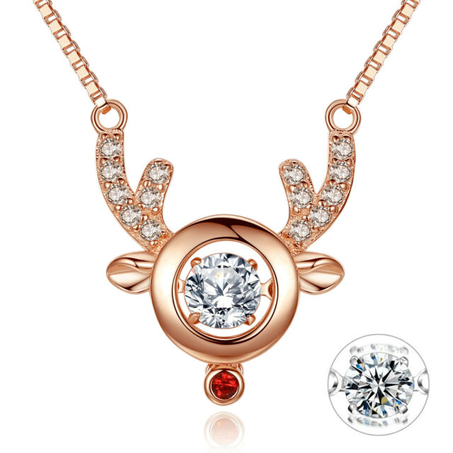 f5390a4ec Mabella Dancing Pendant Rose Gold Plated Sterling Silver 0.5 Ct Owl Necklace  Cha