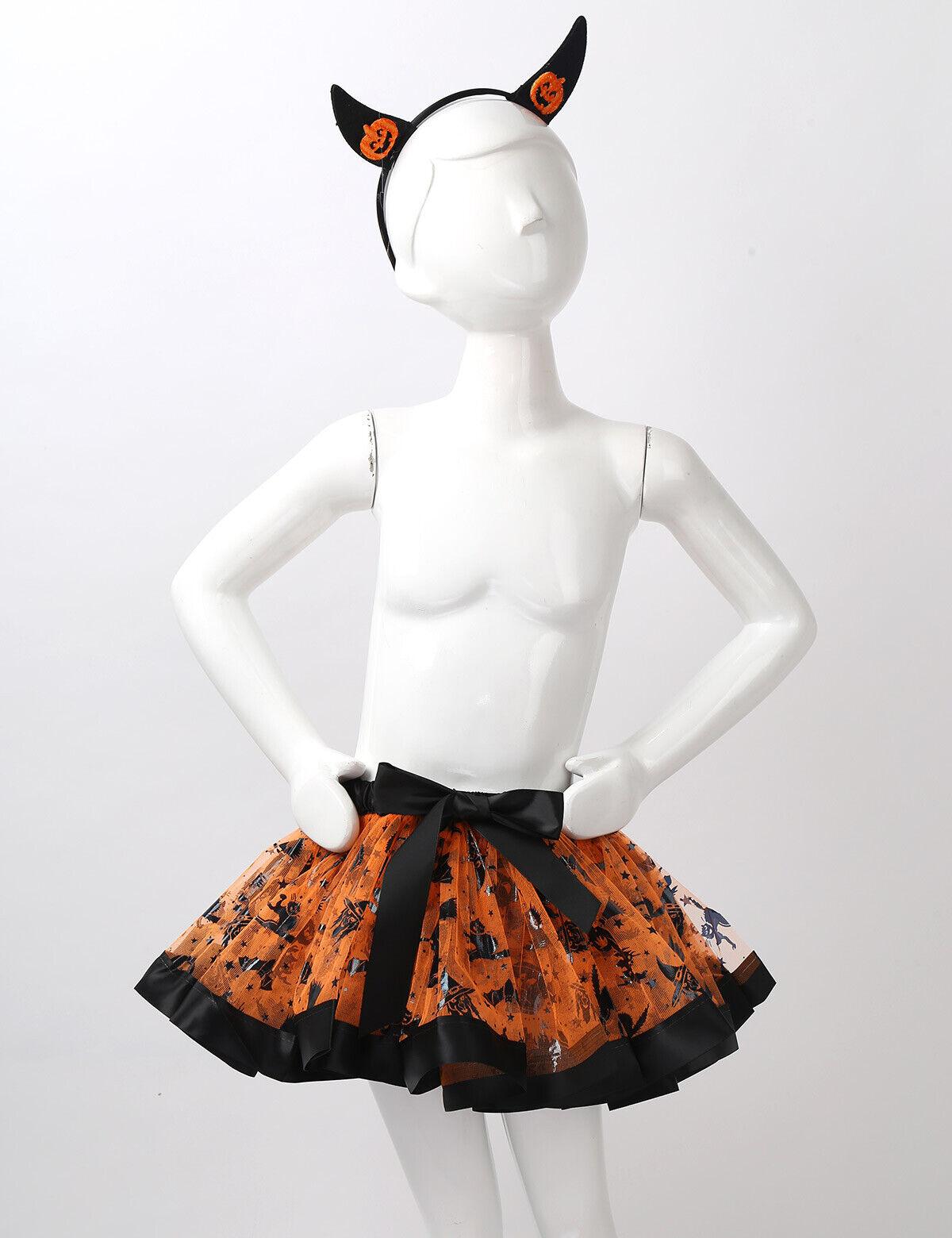 Kids Girls Halloween Cosplay Costume Skirt+Headband Birthday Fancy Party Outfits