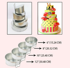 4 Tier Topsy Turvy Round Multilayer Birthday Wedding Cake Tin Cake Moulds 6
