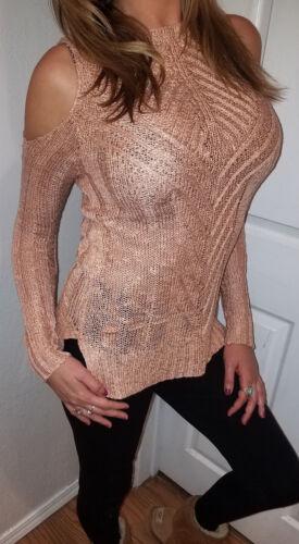 XL NWT Boutique Blush Cold Shoulder Sweater Knit Long Tunic Boho Women/'s X-Large