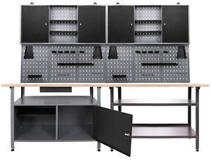 Ondis24 Werkstatt Set 240cm 2x Werkbank Metall 2x Werkzeugschrank Lochwand Haken