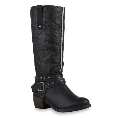 893626 Klassische Damen Stiefel Schuhe Boots Leder-Optik New Look