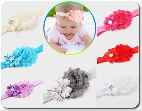 Fascia Per Capelli Fiore Baby Ragazze nastro frontale testa Nastro Capelli Gioielli Strass 15 colori