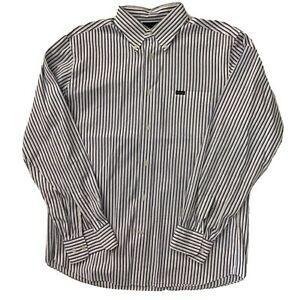Facconable-Mens-Sz-L-Long-Sleeve-Button-Down-Shirt-Blue-White-Stripe