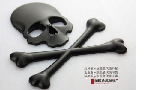 Black 3D Skull Demon Bone Emblem Logo Badge Flag Metal Decal Sticker Fit Honda