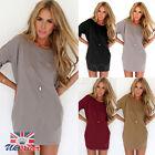 UK Autumn Womens Casual Loose Chiffon Blouse Tops Shirt Half Sleeve Short Dress