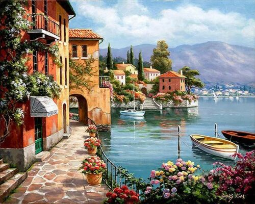 Paint By Numbers Adults Romantic Harbor Seaside Town Venice 40CMx50CM Canvas