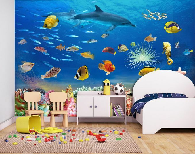 3D Tiefseefische , Delfine Fototapeten Wandbild Fototapete BildTapete Familie DE