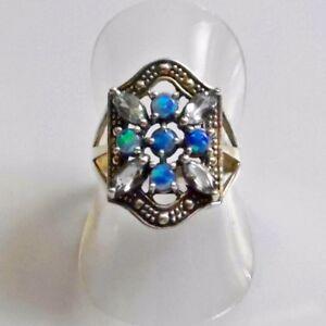 Antik-Style-Navette-Aquamarin-Australian-Opal-Ring-925er-Silber-54-17-2-mm