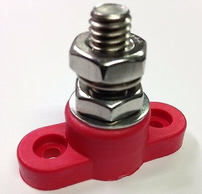 """Red Junction Block Power Post Insulated Terminal Single Stud 10mm 3//8/"""""""