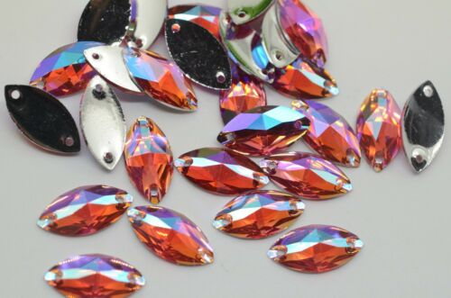 Color de ojos Caballo de aurora boreal del Rhinestone Cose En Acrílico Cristal Piedra Flatback para ropa