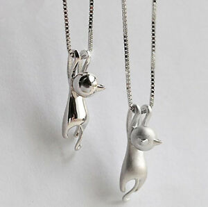Cat-Pendant-Chain-Necklace-Stud-Earrings-925-Sterling-Silver-Womens-Jewellery-UK