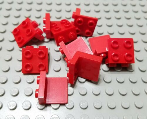 LEGO Lot of 10 Red 1x2-2x2 Space Bracket Pieces