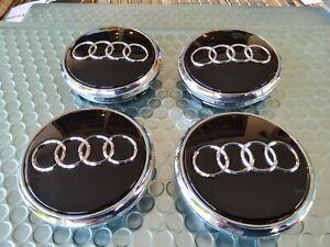 Audi Q7 07-15 77mm Black Chrome Wheel Center Hub Caps 4L0601170 SET (4pcs)