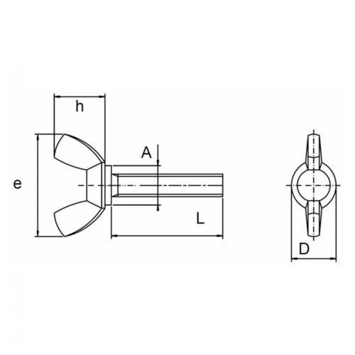 DIN 316 Flügelschrauben M 10 x 60 amerikanische Form A2 blank