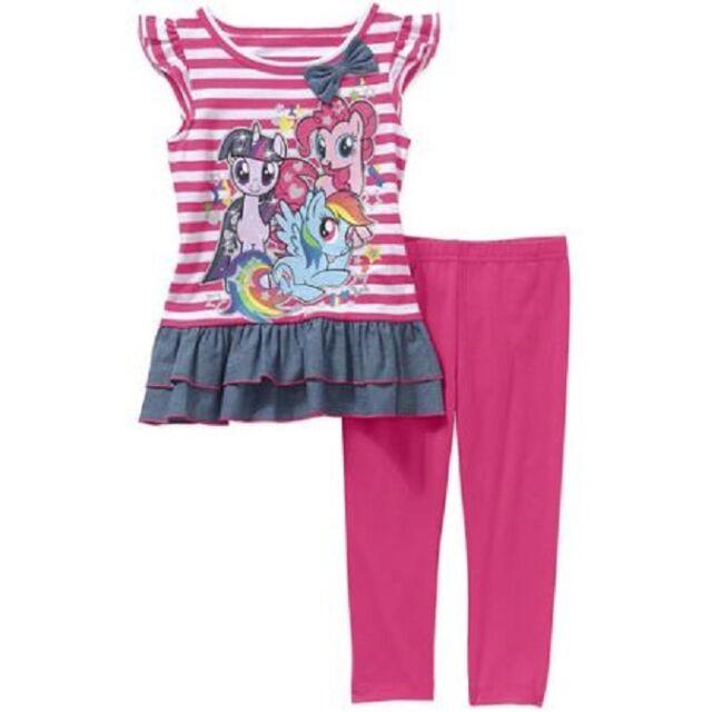 f9db397c76b My Little Pony Girl Rainbow Dash Ruffle Tunic Dress Swing Top Legging Set  Sz 24M