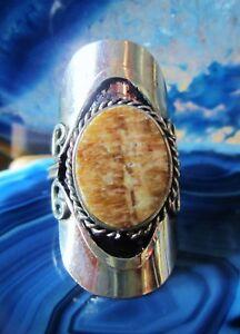 Stil 01 ~ Ring Alpaka Neusilber Landschafts-jaspis Braun Inka Maya Indianer Gut FüR Antipyretika Und Hals-Schnuller Folkloreschmuck Indianerschmuck