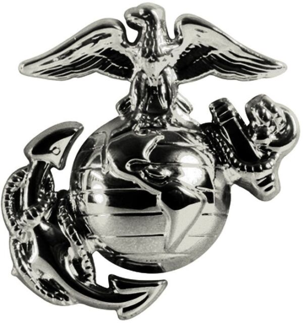 Pewter USMC Globe & Anchor Marines Insignia Pin USA Made