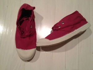 Bensimon Tennis Shoes Red Lace-Up Canvas