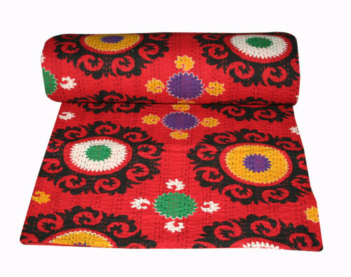 Suzani Red Kantha Indian Kantha Bed Cover,Bedspread Kantha Quilt King Size