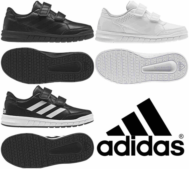 Adidas Boys Shoes Kids Altasport School Casual Running Trainers Black White