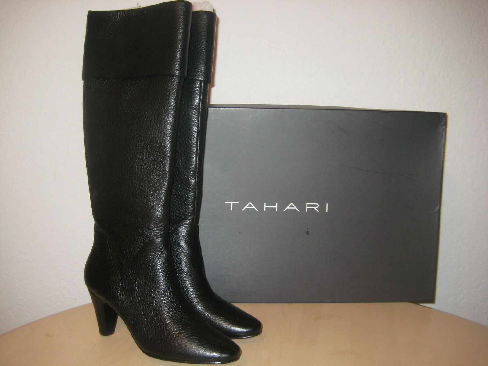 Tahari New Womens Gentry Black Leather Heel Boots Size 6.5 M shoes