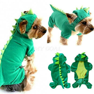 Warm Dinosaur Pet Puppy Dog Coat Clothes Apparel Hoodie Jumpsuit Costume Outfit