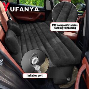 Inflatable-Travel-Car-Flocking-Mattress-Air-Bed-Seat-Mat-Pillow-Pump-Black-SUV