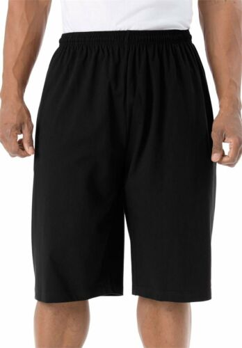Men/'s BigTall Lightweight Cotton Blend Roomy fit Extra Long Shorts,Black