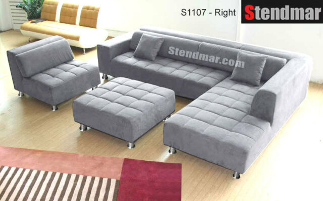 4pc Modern Dark Grey Microfiber Sectional Sofa Chaise Chair Ottoman