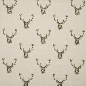 Brown Stag Deer Animal Pattern Velour Velvet Printed Upholstery Curtain Fabrics