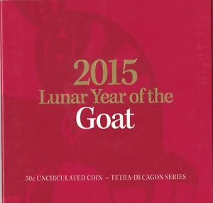 2015-50c-Lunar-Year-of-the-Goat-Tetra-decagon-Unc-Coin-in-red-folder