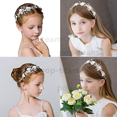 First holy communion hair band accessory garland bridesmaid flower girl roses /& rhinestones