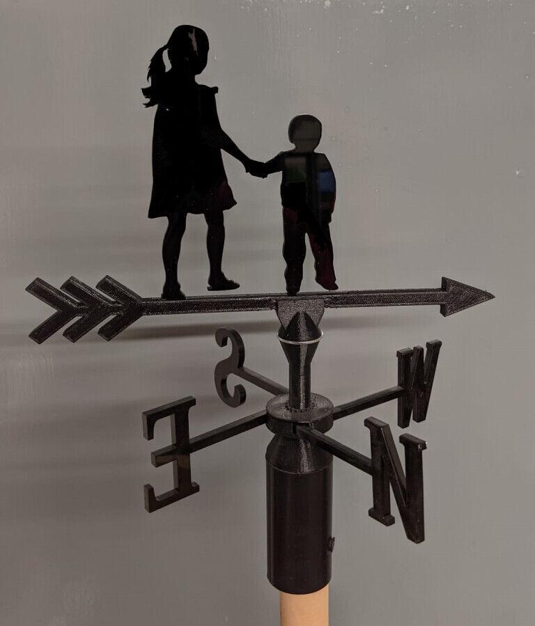 Children Boy and Girl Acrylic Garden Weather Vane Wall, Pole or Post Mounted