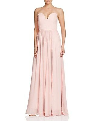 f7cc1c2cdf075 Nicole Miller Womens Pink Pleated Strapless Formal Dress Gown 4 BHFO ...
