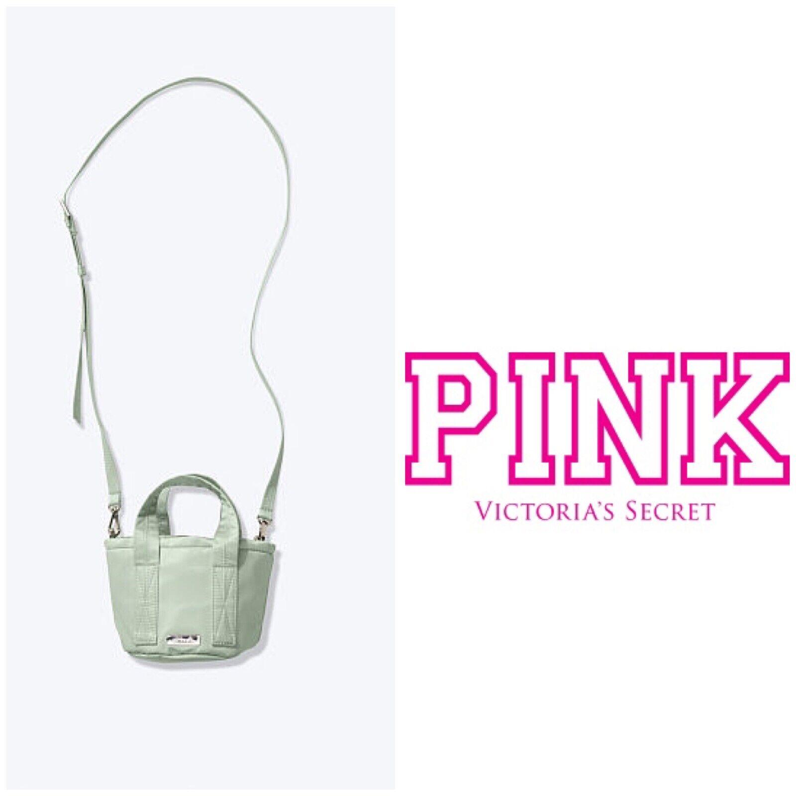 NWT Victoria Secret Pink Mini Bucket Bag Double Straps Sage