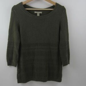 Banana-Republic-Womens-Sweater-Heavy-Knit-Pullover-3-4-Sleeve-Olive-Green-Size-S