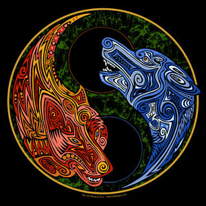 T Shirt Yin Yang Wolves Fire And Ice Tribal Wolf Art Offworld
